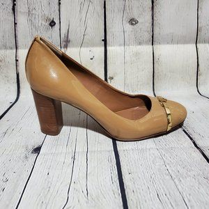 TORY BURCH Brown Tan Patent Stacked Heels Shoes 7
